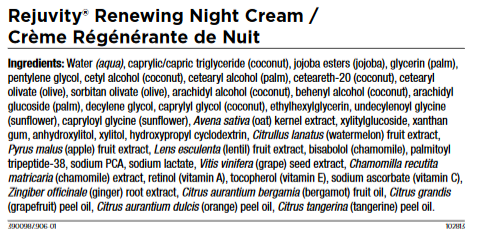 Night Cream Ingredients
