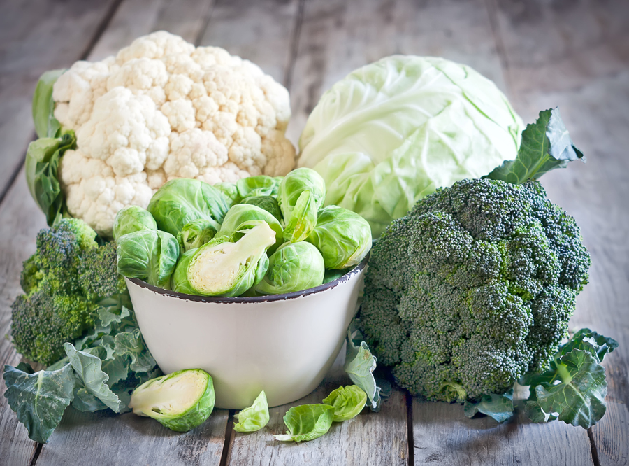 Assortment of cabbages and brocolli