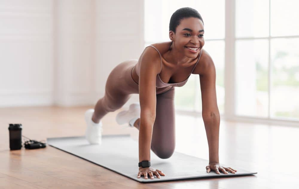 Mountain climbers are an effective way of strengthening your arms, back, shoulders, core and legs.